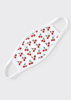 White Cherry Print Cotton Face Mask