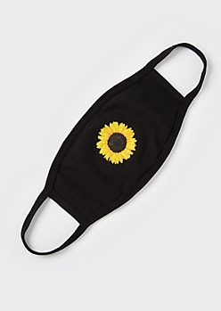 Black Sunflower Print Fashion Face Mask