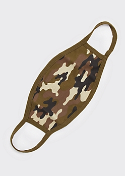 Olive Camo Print Cotton Face Mask