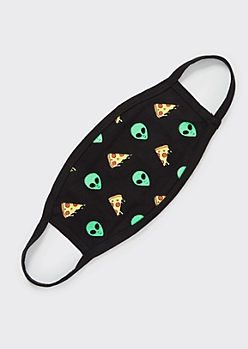Pizza Alien Print Face Mask
