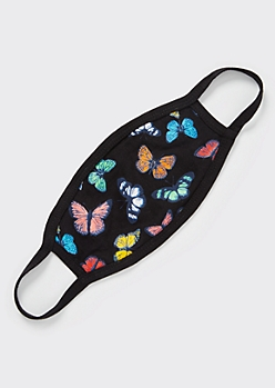 Rainbow Butterfly Print Face Mask