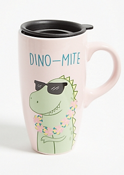 Pink Dino-Mite Ceramic Travel Mug