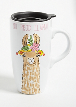 White No Prob Llama Ceramic Travel Mug