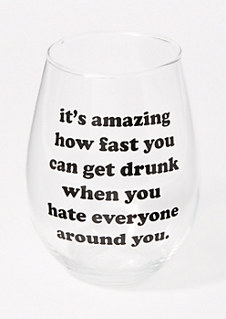 Clear Sassy Jumbo Wine Glass