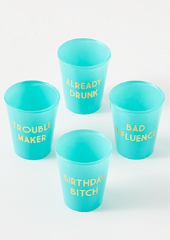 4-Pack Teal Birthday Girl Shot Glass Set