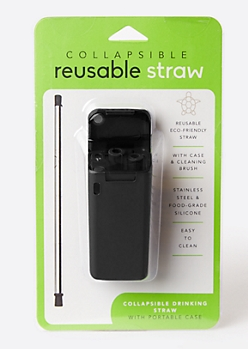 Black Reusable Metal Straw