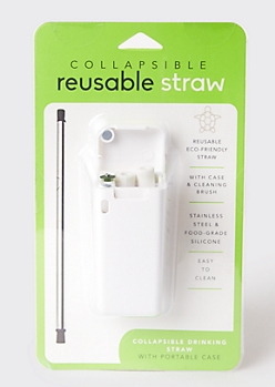 White Reusable Metal Straw