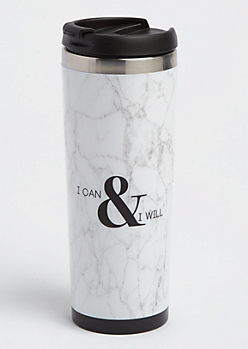 I Can & I Will Marbled Insulated Travel Mug