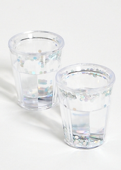 2-Pack Clear Double Wall Glitter Shot Glasses