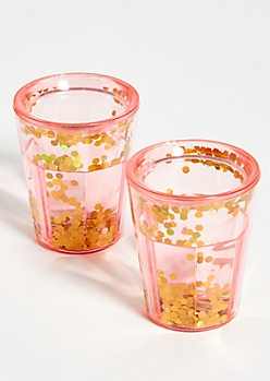 2-Pack Pink Double Wall Glitter Shot Glasses
