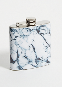 White Marble Print Flask