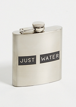 Silver Just Water Graphic Flask