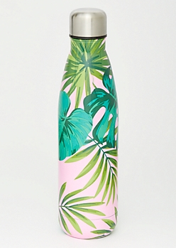 Pink Tropical Leaf Stainless Steel Water Bottle