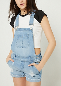 Light Wash Cuffed Hem Denim Overall Shorts