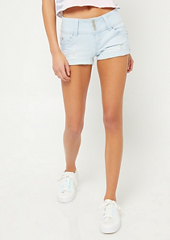 Better Butt Light Wash Triple Button Distressed Jean Shorts