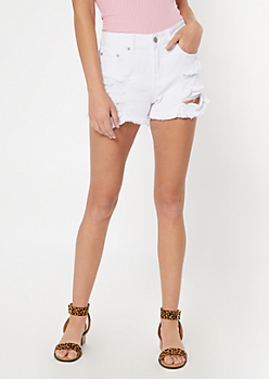 Throwback White Frayed Jean Shorts