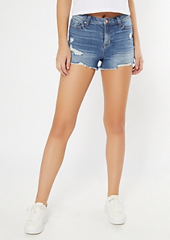 Medium Wash Mid Rise Raw Cut Jean Shorts
