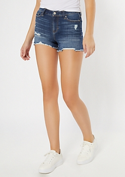 Dark Wash Mid Rise Raw Cut Jean Shorts