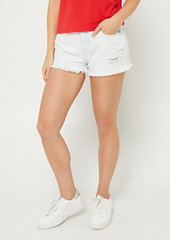 Light Wash High Waisted Frayed Shorts