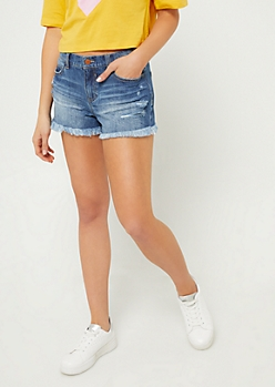 Medium Wash High Rise Fraying Shorties