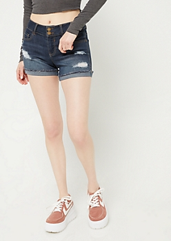 Dark Wash Mid Rise Cuffed Midi Shorts