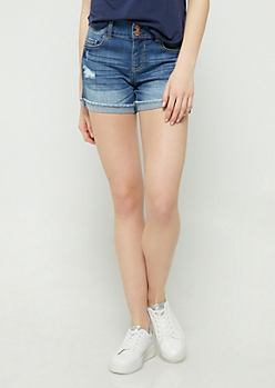Medium Wash Mid Rise Cuffed Midi Shorts
