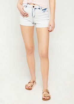 Acid Wash Clean Cuff Jean Shorts