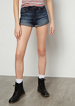 Dark Wash Mid Rise Rolled Hem Jean Shorts