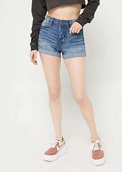 Dark Wash High Waisted Double Rolled Shorts