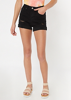 Ultimate Stretch Black Rolled Curvy Jean Shorts