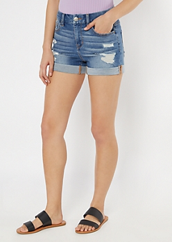 Ultimate Stretch Medium Wash Rolled Curvy Jean Shorts