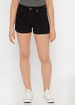 Ultimate Stretch Black Rolled Distressed Shorts