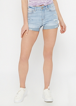 Ultimate Stretch Light Wash Rolled Distressed Shorts