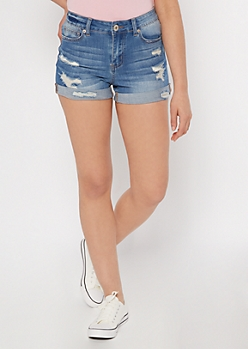 Ultimate Stretch Medium Wash Rolled Distressed Shorts