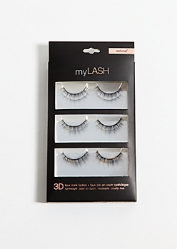 3-Pack Black Natural Length False Eyelashes