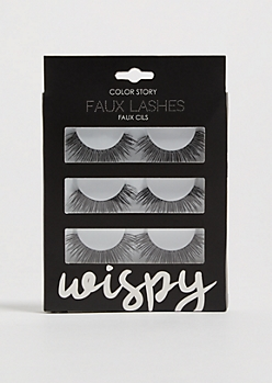 3-Pack Black Wispy Faux Eyelashes Set