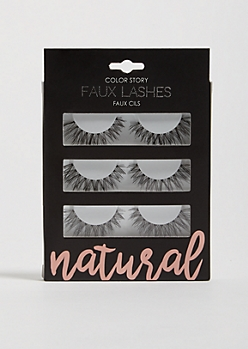 3-Pack Black Natural Faux Eyelashes Set