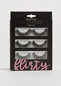 3-Pack Black Flirty Faux Eyelashes Set