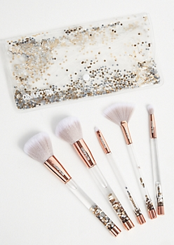 5-Pack Rose Gold Floating Glitter Makeup Brush Set