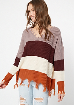 Purple Striped Fringed V Neck Sweater