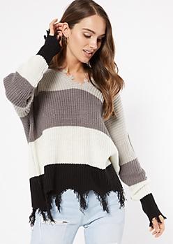 Gray Striped Fringed V Neck Sweater