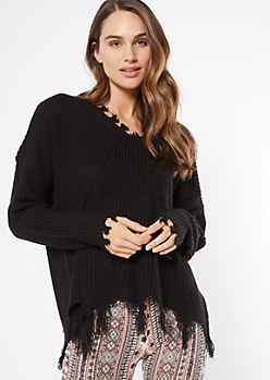 Black Fringed V Neck Sweater