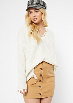 Ivory Fringed V Neck Sweater