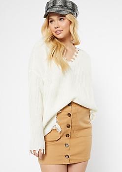 Ivory Fringed V Neck Sweater