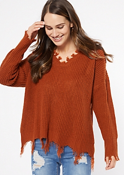 Burnt Orange Fringed V Neck Sweater