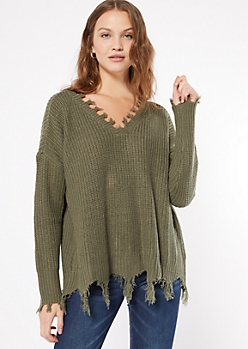 Olive Fringed V Neck Sweater