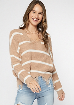 Tan Striped Frayed Hem Skimmer Sweater