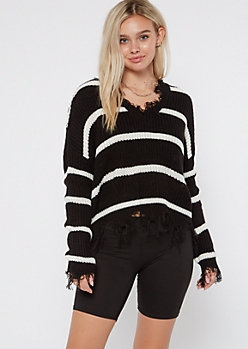 Black Striped Frayed Hem Skimmer Sweater