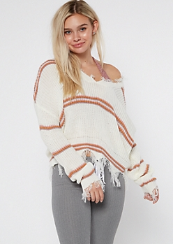 White Striped Frayed Hem Skimmer Sweater