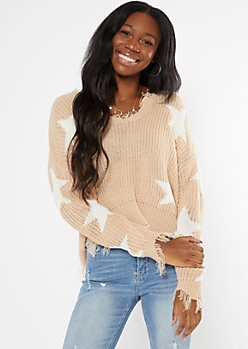Tan Star Print Distressed Sweater